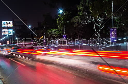 Track Left Shot for traffic at Salah Salim Street at Night
