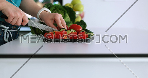 Couple preparing and cooking dinner together