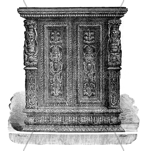 Small carved wooden jewelry cabinet style Jean Goujon, vintage engraved illustration. Industrial encyclopedia E.-O. Lami - 1875.