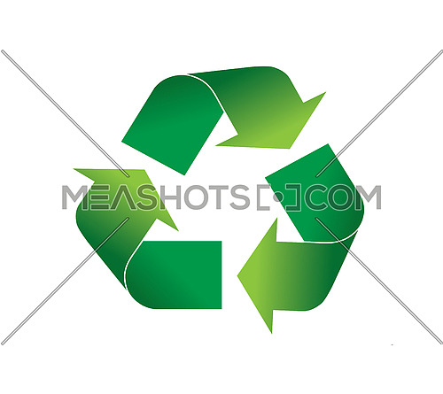 Green recycling logo icon vector illustration, isolated on white background