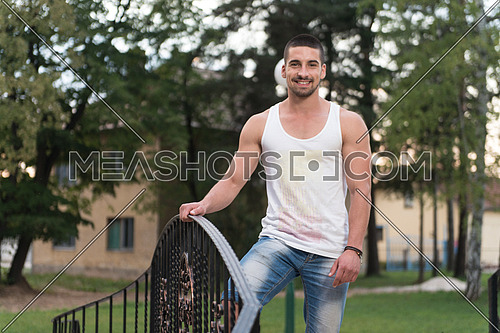 Young Man Outdoors Portrait With Copy Space