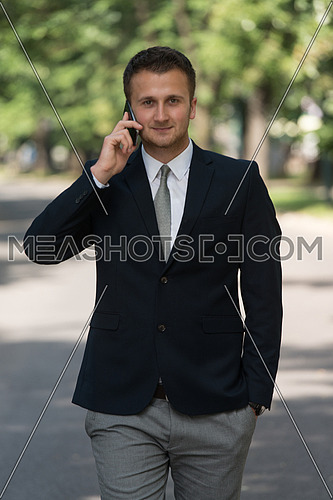 Young Businessman Talking On The Phone While Walking Outside In Park