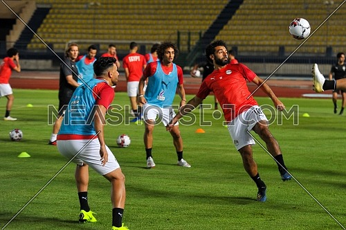 Mohamed Salah during his participation in training the Egyptian team at  military college on 19-6-2019 in preparation African Cup of Nation on egypt