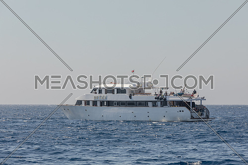 Long shot for a yacht in the Red Sea by day
