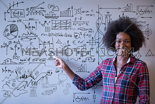 Young successful African American beautiful woman writes on a board meeting in a large modern office