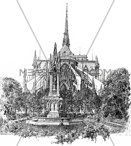 Square of the Archdiocese and apse of Notre Dame, vintage engraved illustration. Paris - Auguste VITU – 1890.