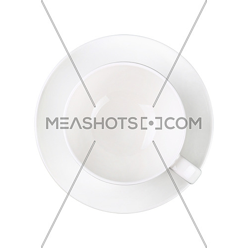 Close up one empty white coffee or tea cup on saucer isolated on white background, elevated top view, directly above