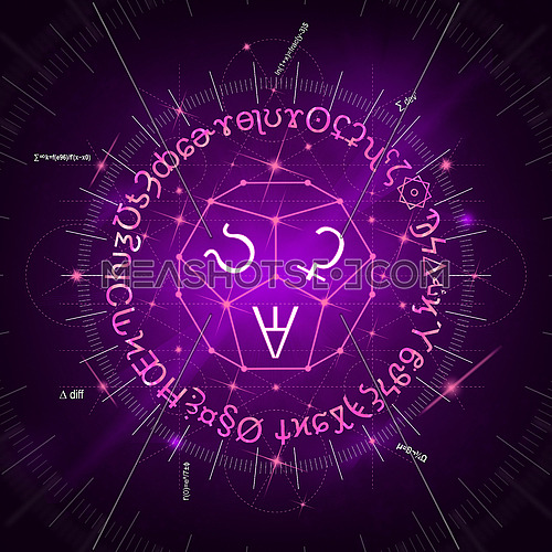Abstract purple background of glowing magic spells, formulas, signs, clockwork and sacred symbols