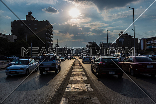Long Shot for traffic at Salah Salim Street showing Al Orouba Tunnel in background at Daytime