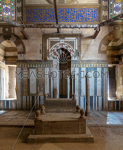 Mausoleum of Sultan Al Zaher Barquq and sons at the complex of Al Nasr Farag Ibn Barquq complex, City of the dead, with marble ornate mihrab (niche) and ornate marble wall