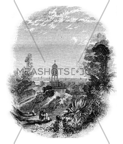 Church at Cephalonia, vintage engraved illustration. Magasin Pittoresque 1843.