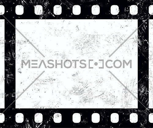 Close up one frame of old vintage grunge retro styled classical 35 mm film strip isolated on white background