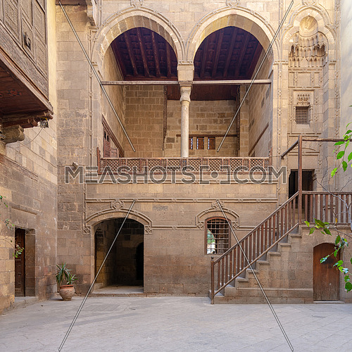 Facade of Zeinab Khatoun historic house, located near to Al-Azhar Mosque in Darb Al-Ahmar district, Old Cairo, Egypt