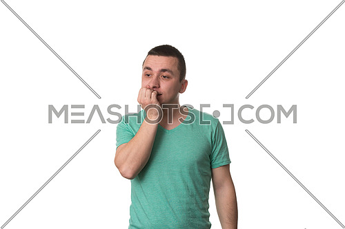 Portrait Of Thinking Man With Fingers In Mouth - Biting Fingernail - Negative Emotion - Facial Expression - Isolated On White Background