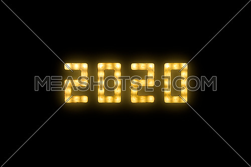 Close up yellow neon glowing bright led light 2020 year sign on black background