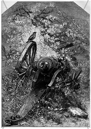 An old destroyed cannon with nature growing over it, vintage engraved illustration. Magasin Pittoresque  1875.