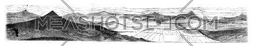 View of the west side, vintage engraved illustration. Magasin Pittoresque 1846.