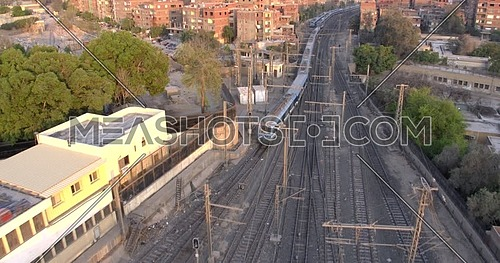 Aerial shot for Railway Station while Metro stopped in Cairo at day