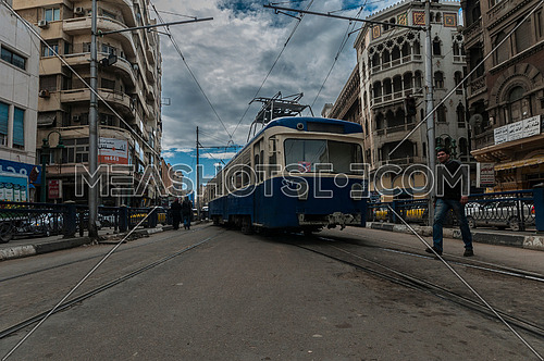 Long shot for Trams moving at Alexandria at Day