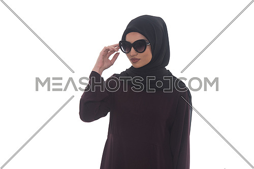 Young Muslim Woman In Head Scarf With Modern Clothes And Sunglasses - Isolated On White