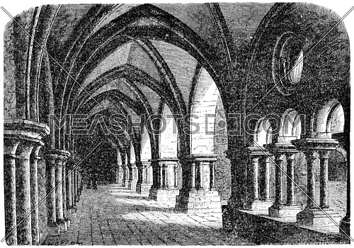 Cloister of the abbey of luxeuil, vintage engraved illustration.