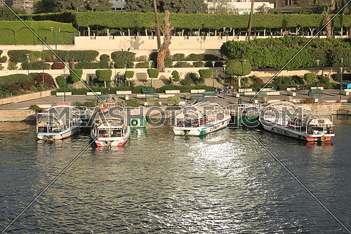 four felouka boats parked in the nile