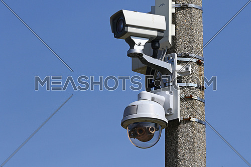 CCTV Security Video Cameras mounted on cement pole