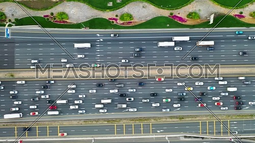 aerial top view of busy traffic on dubai highway urban and modern transportration concept