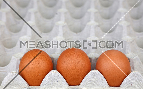 Close up three fresh brown chicken eggs in tray carton at retail display of farmers market, high angle view