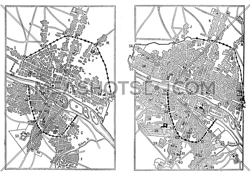 Map of Paris under Henri IV and Paris in the advent of Louis XIV, vintage engraved illustration. Dictionary of words and things - Larive and Fleury - 1895.