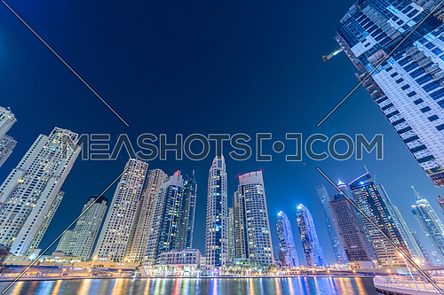 Dubai - JANUARY 10, 2015: Marina district on January 10 in UAE, Dubai. Marina district is popular residential area in Dubai