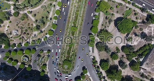 Aerial footage over Alexandria city streets shot by drone in the downtown