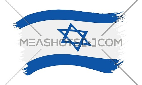 Vector illustration of brushstroke painted national flag of Israel with star of David isolated on white background