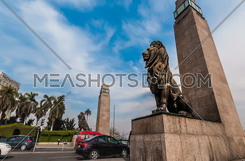 Zoom In Low Angel for Qasr Al Nile Bridge's Lions at Day