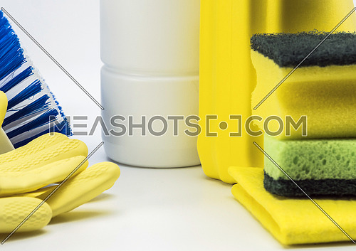 Cleaning utensils isolated on white background