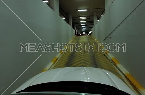 point of view shot for a car inside Garage