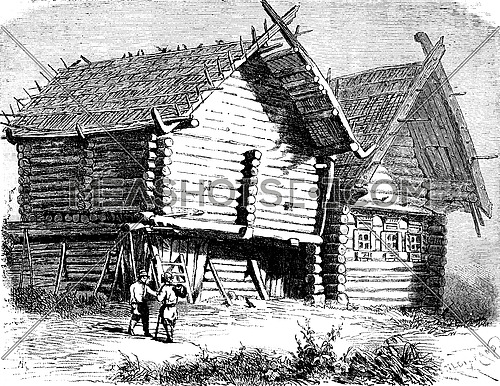 Russian house north, vintage engraved illustration. Le Tour du Monde, Travel Journal, (1872).