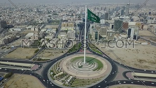 Drone shot for the longest mast flag in the world Saudi Arabia flag at day