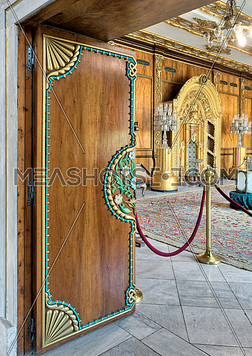 Wooden floral pattern ornate door revealing residence of prince's mother, Manial Palace of Prince Mohammed Ali, Cairo, Egypt