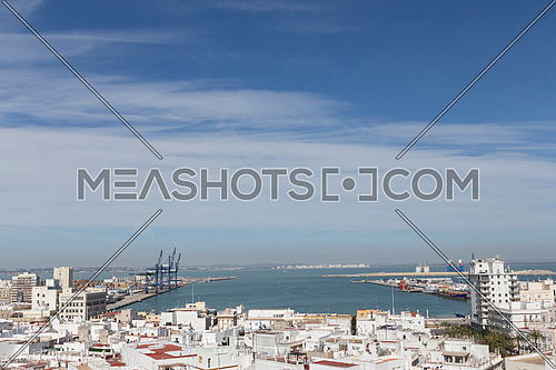 View of the historic center and port of Cadiz from the observation deck, take in Cadiz, Andalusia, Spain