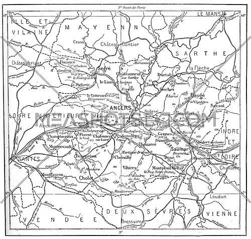Topographical Map of Department of Maine-et-Loire in Pays de la Loire, France, vintage engraved illustration. Dictionary of Words and Things - Larive and Fleury - 1895