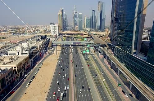 Arial shot for Al Shaikh Zayed Road  Using Drone in Dubai At Day