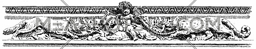 Frieze of the gallery of the waterfront, vintage engraved illustration. Paris - Auguste VITU – 1890.