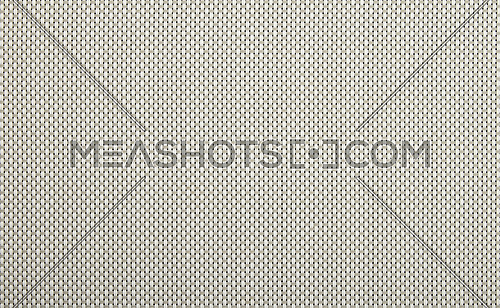 Background texture of horizontal gray and vertical white wicker braided plastic double strings with small mesh and black back