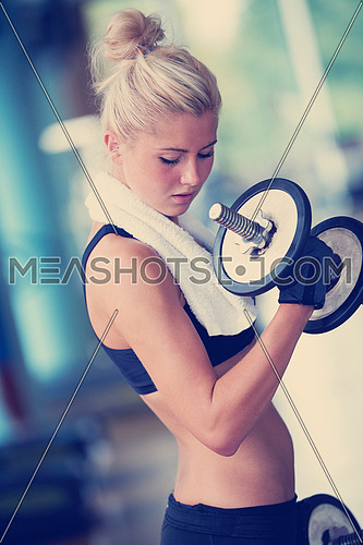 Gorgeou woman girl lifting some weights and working on her biceps in a gym