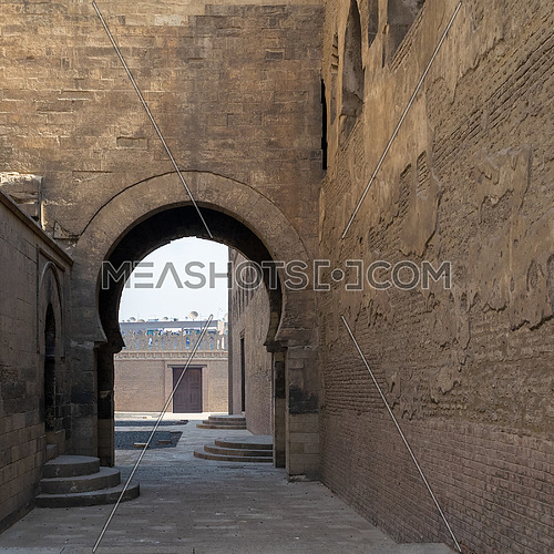 Arch at one of the passages surrounding Ibn Tulun Mosque, Sayyida Zaynab district, Medieval Cairo, Egypt