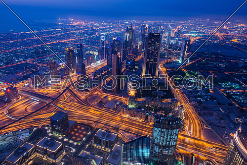 Panoram of night Dubai during sunset
