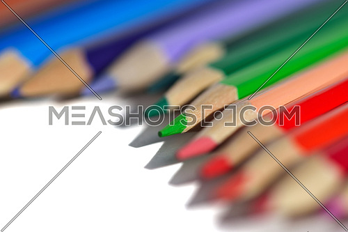 children education concept with colorful wooden pen isolated on white background