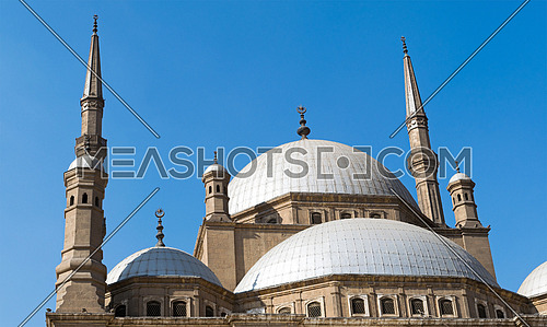 Domes of The great Mosque of Muhammad Ali Pasha (Alabaster Mosque), situated in the Citadel of Cairo, Egypt, commissioned by Muhammad Ali Pasha 1830 - 1848. Considered as one of the landmarks of Cairo