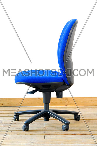 modern blue office chair on wood floor over white background